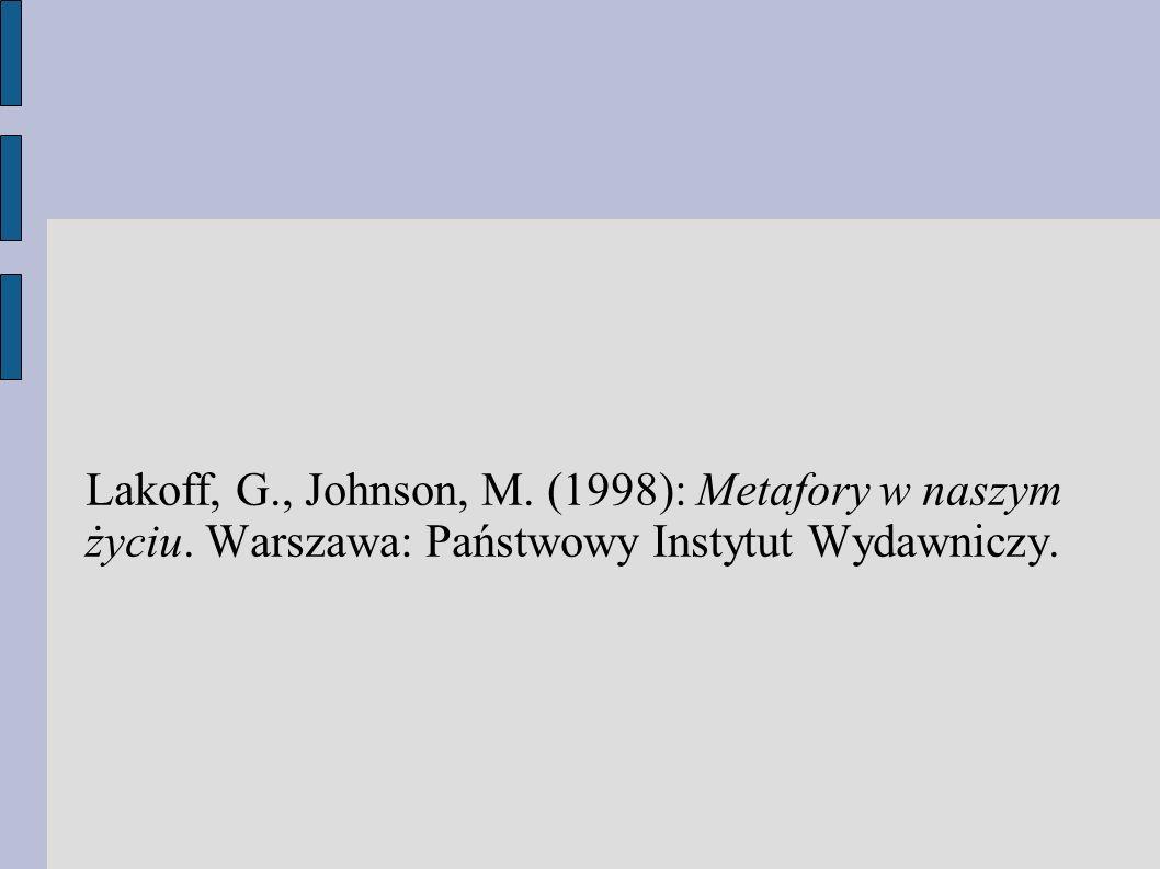 Lakoff, G. , Johnson, M. (1998): Metafory w naszym życiu