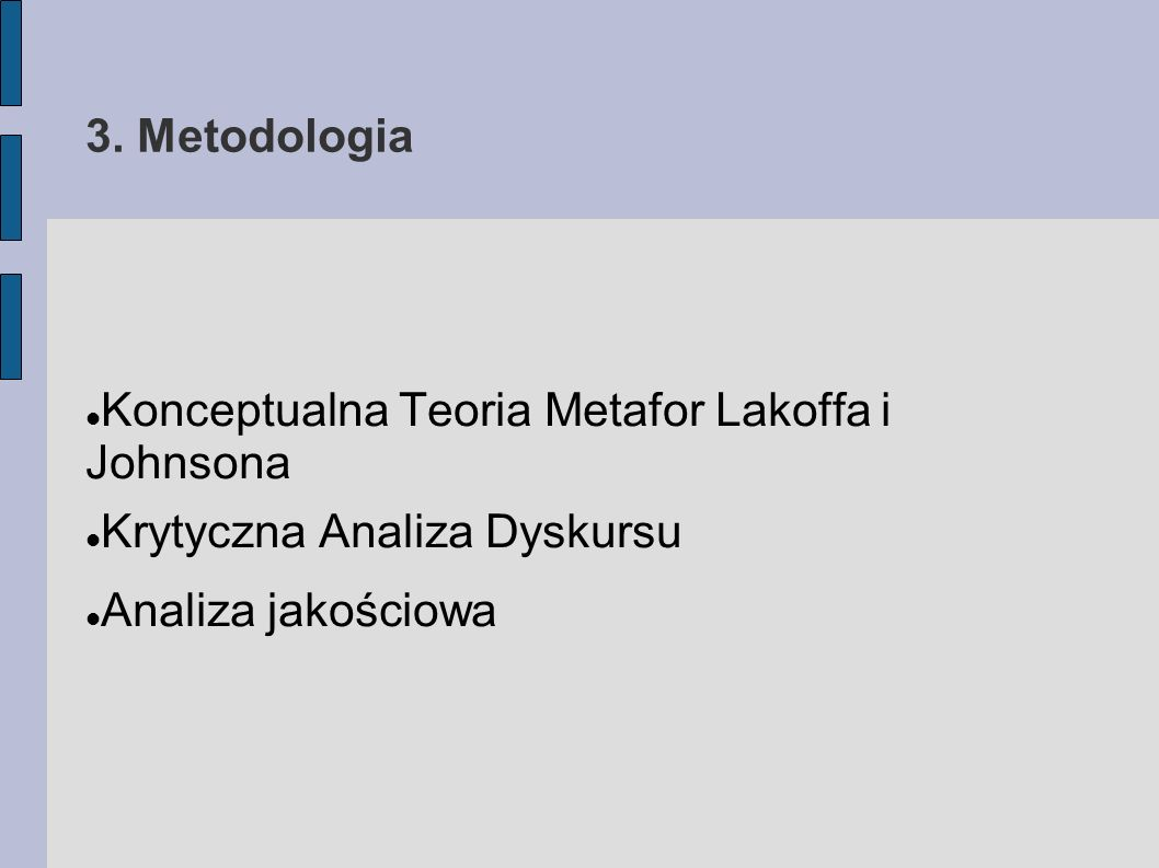 3. Metodologia Konceptualna Teoria Metafor Lakoffa i Johnsona.