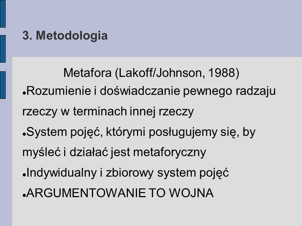 Metafora (Lakoff/Johnson, 1988)‏