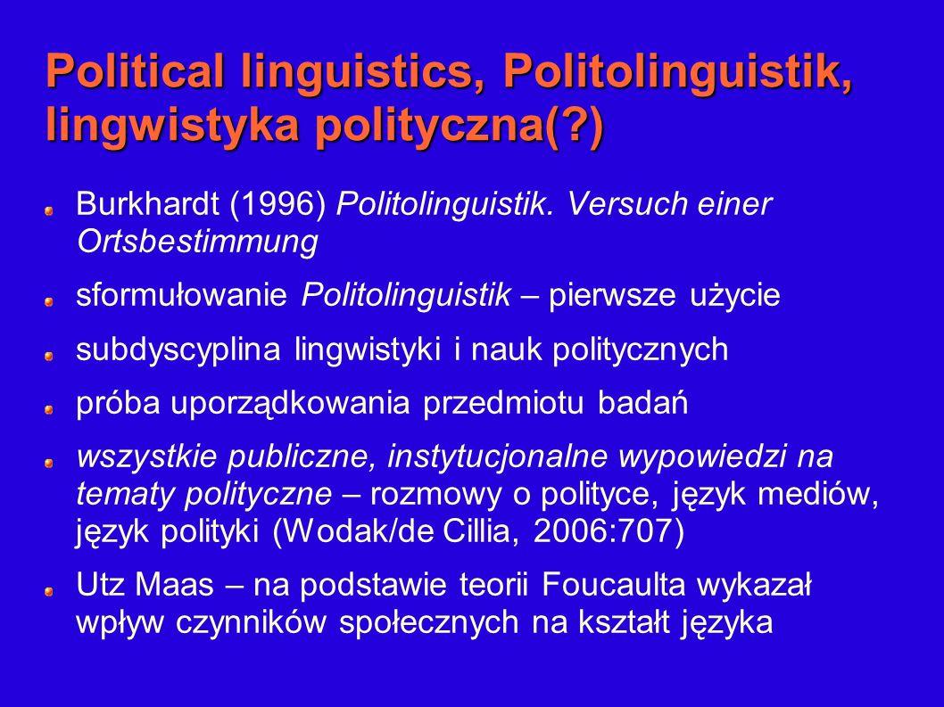 Political linguistics, Politolinguistik, lingwistyka polityczna( )