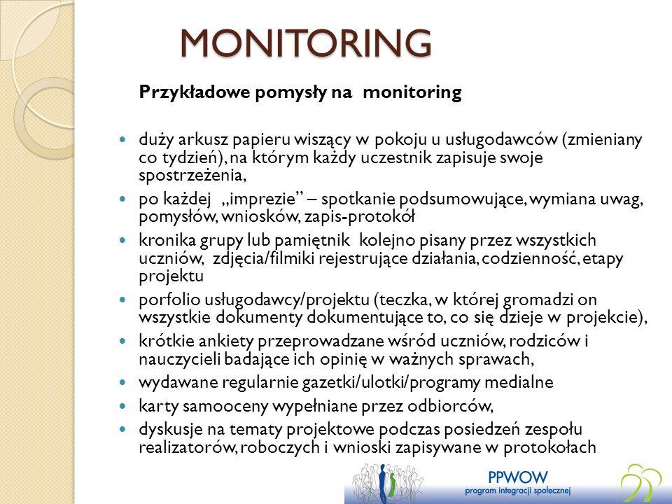 MONITORING Przykładowe pomysły na monitoring