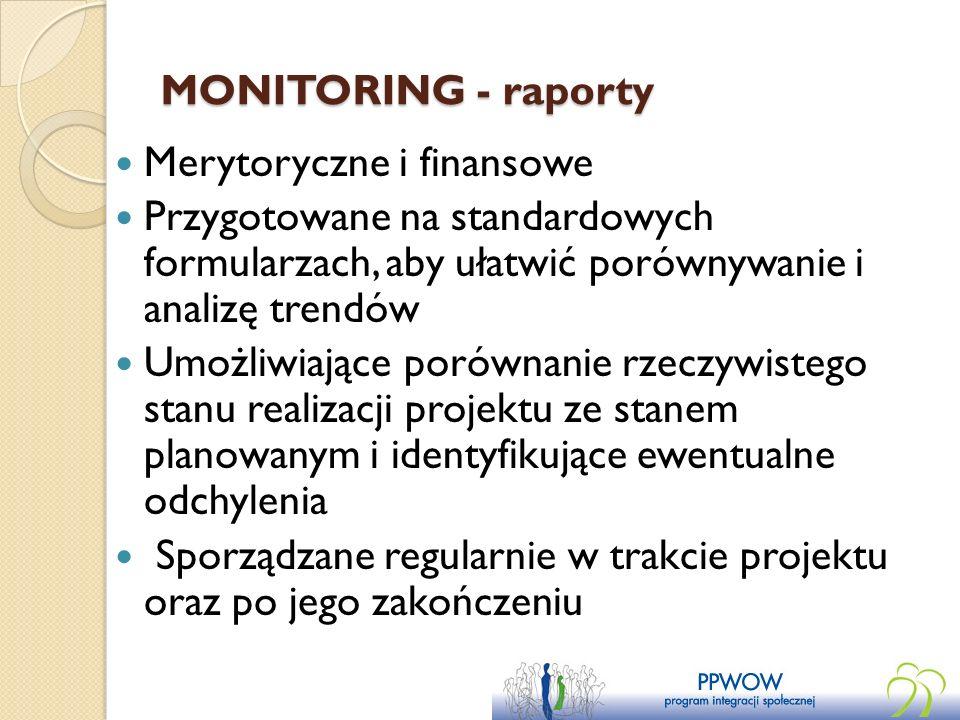 MONITORING - raporty Merytoryczne i finansowe. Przygotowane na standardowych formularzach, aby ułatwić porównywanie i analizę trendów.