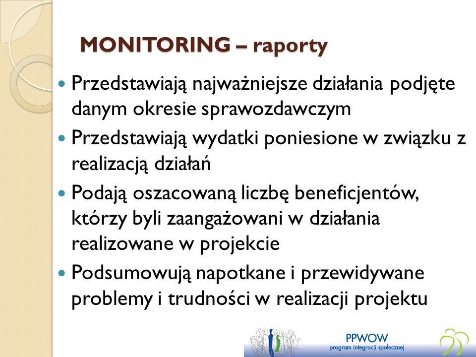 MONITORING – raporty Przedstawiają najważniejsze działania podjęte danym okresie sprawozdawczym.