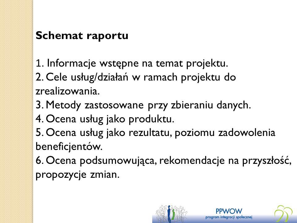 Schemat raportu1. Informacje wstępne na temat projektu. 2. Cele usług/działań w ramach projektu do zrealizowania.