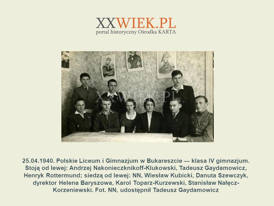 25.04.1940. Polskie Liceum i Gimnazjum w Bukareszcie — klasa IV gimnazjum.