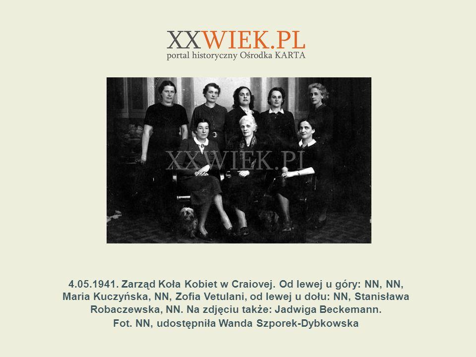 4.05.1941. Zarząd Koła Kobiet w Craiovej. Od lewej u góry: NN, NN,