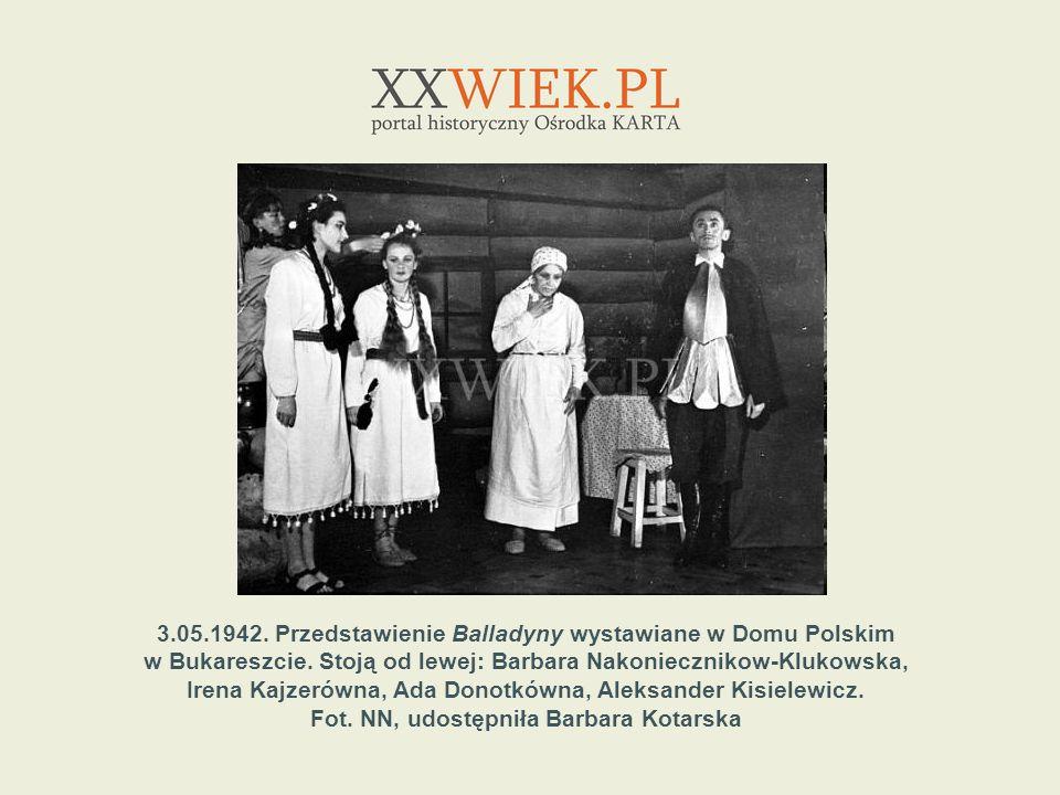 3.05.1942. Przedstawienie Balladyny wystawiane w Domu Polskim