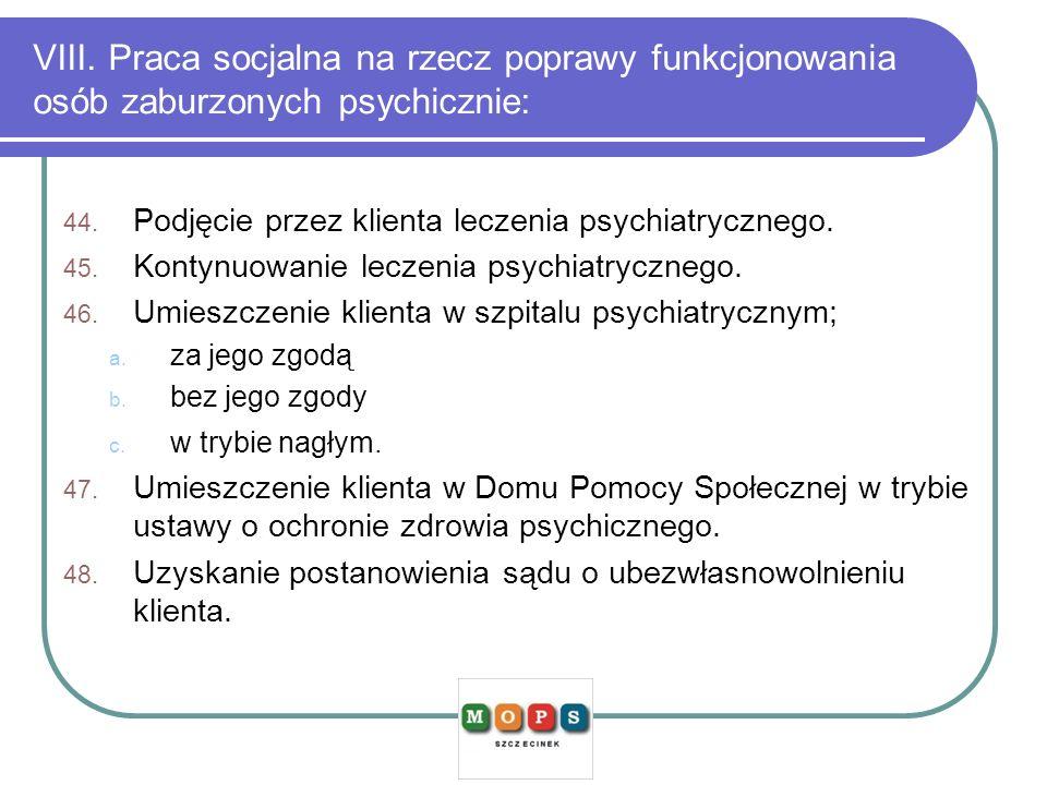 VIII. Praca socjalna na rzecz poprawy funkcjonowania osób zaburzonych psychicznie:
