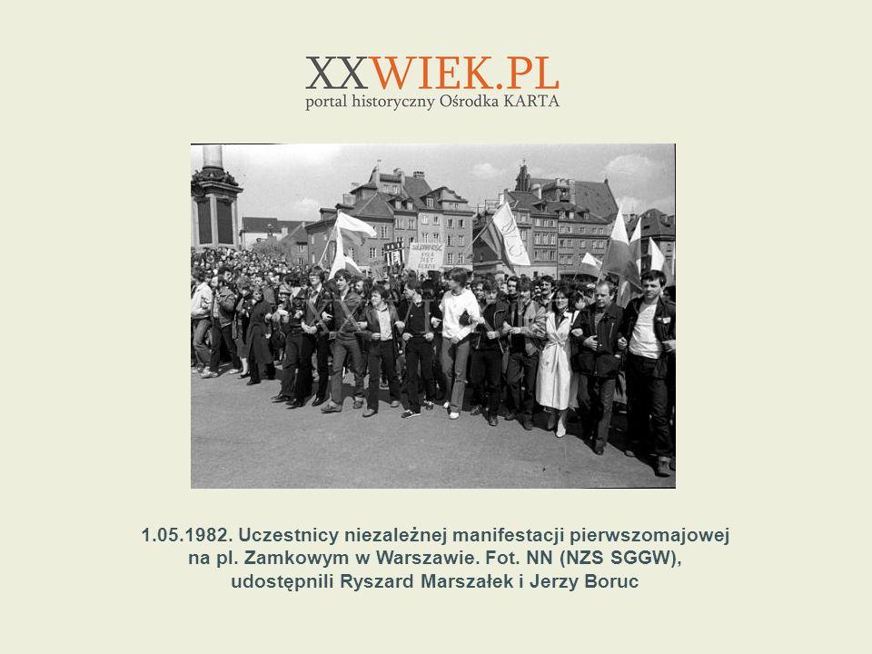 1.05.1982. Uczestnicy niezależnej manifestacji pierwszomajowej