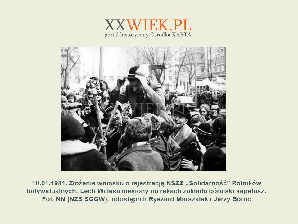 """10.01.1981.Złożenie wniosku o rejestrację NSZZ """"Solidarność Rolników Indywidualnych."""