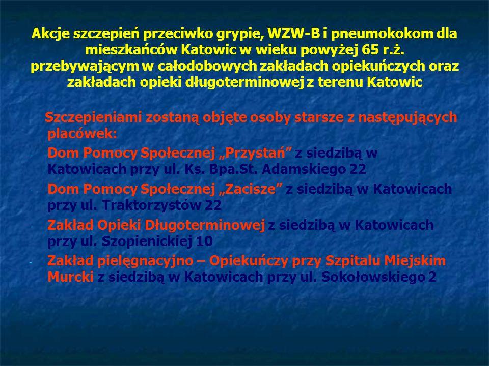 Akcje szczepień przeciwko grypie, WZW-B i pneumokokom dla mieszkańców Katowic w wieku powyżej 65 r.ż. przebywającym w całodobowych zakładach opiekuńczych oraz zakładach opieki długoterminowej z terenu Katowic