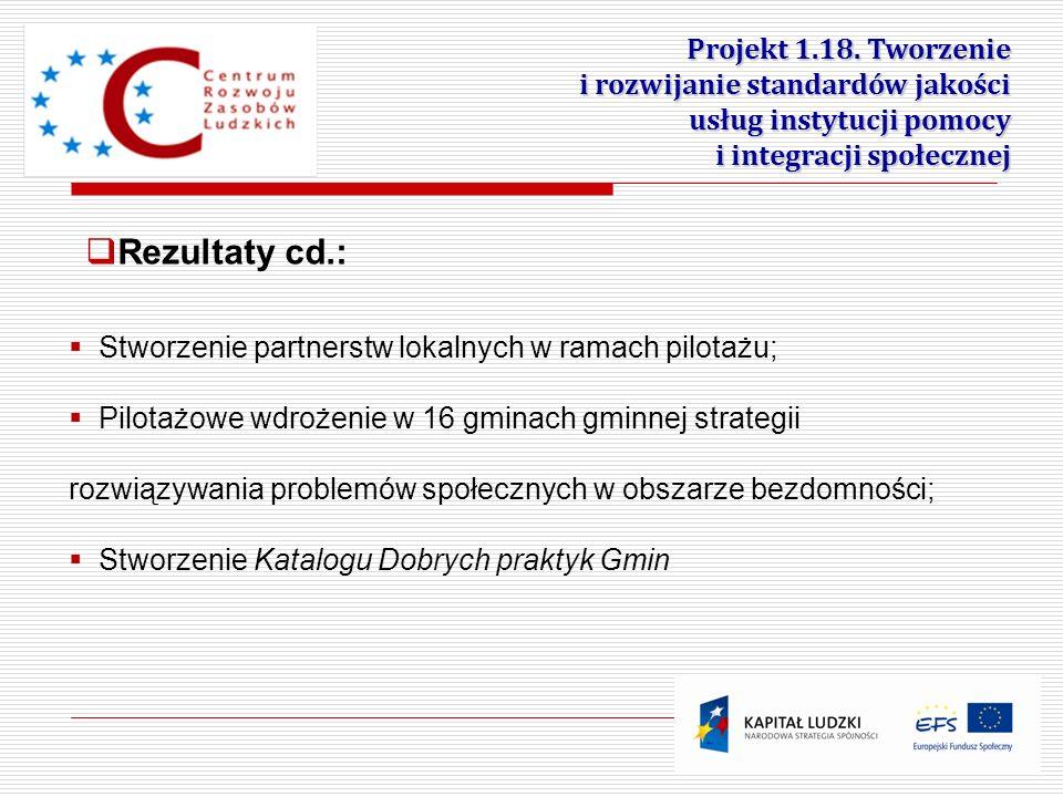 Projekt 1.18. Tworzenie i rozwijanie standardów jakości usług instytucji pomocy i integracji społecznej