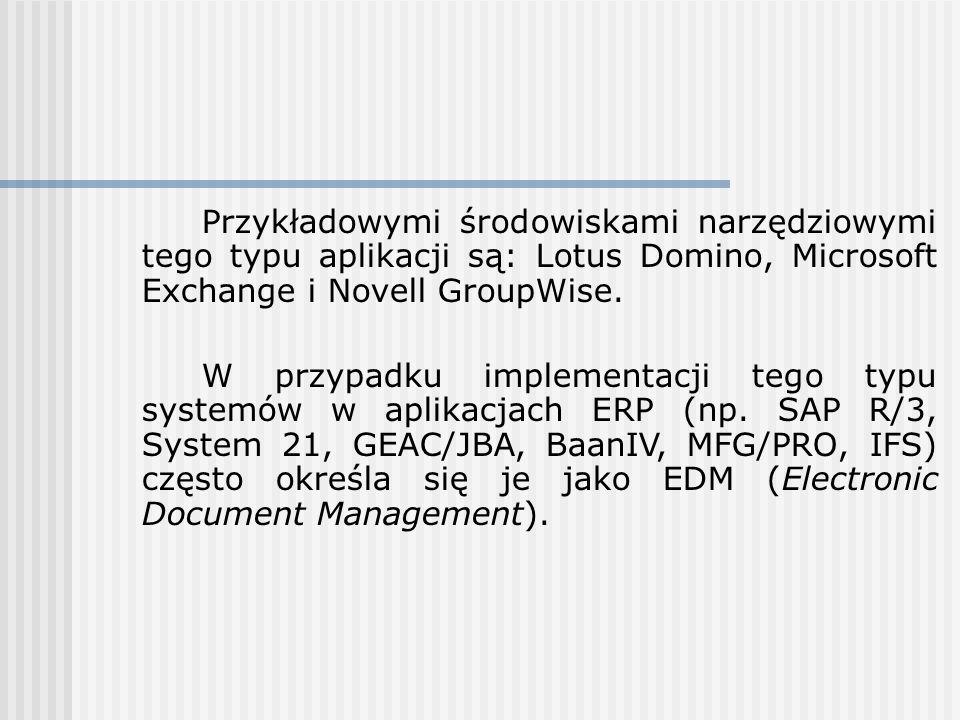 Przykładowymi środowiskami narzędziowymi tego typu aplikacji są: Lotus Domino, Microsoft Exchange i Novell GroupWise.