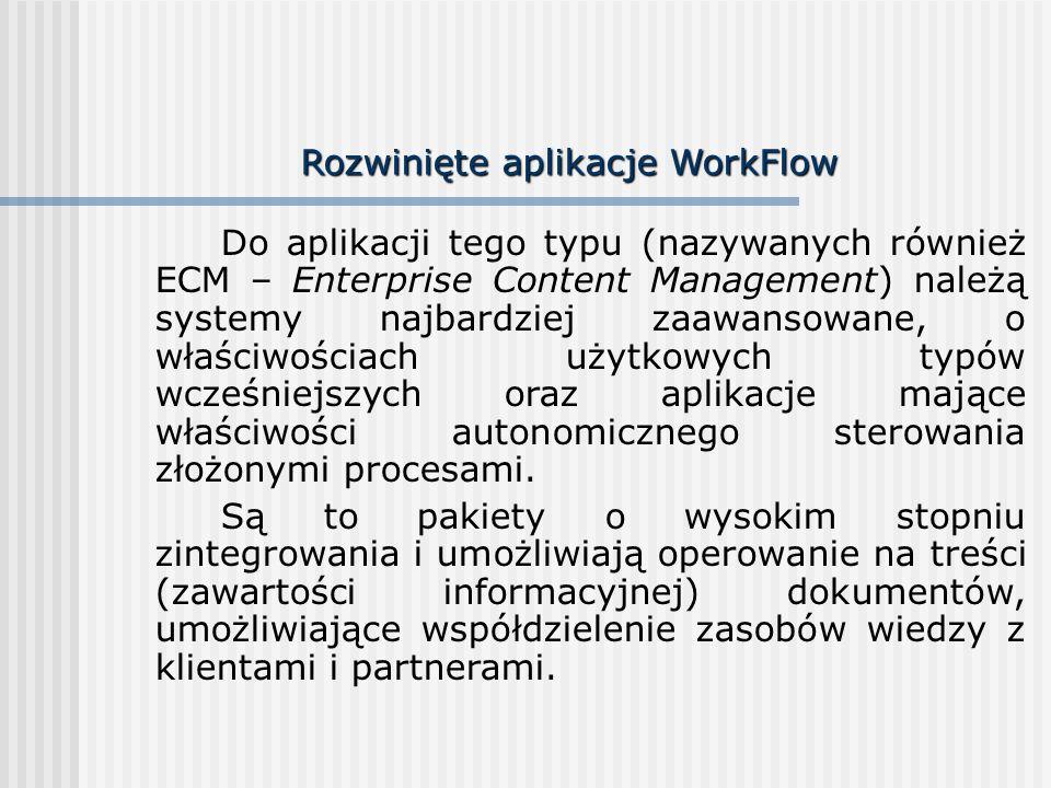 Rozwinięte aplikacje WorkFlow