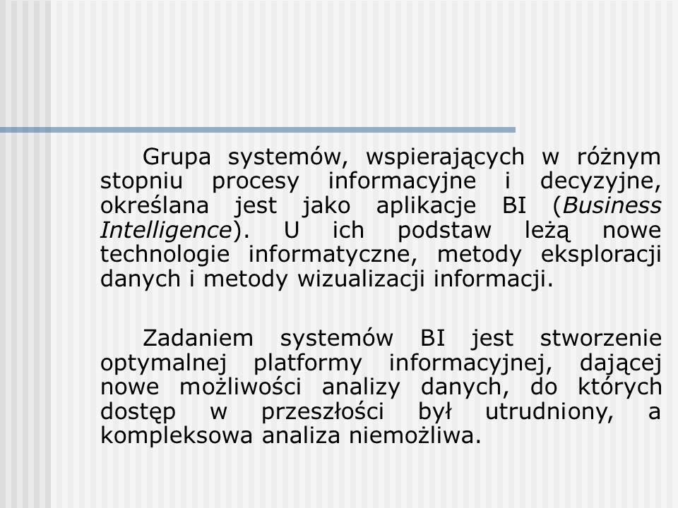 Grupa systemów, wspierających w różnym stopniu procesy informacyjne i decyzyjne, określana jest jako aplikacje BI (Business Intelligence). U ich podstaw leżą nowe technologie informatyczne, metody eksploracji danych i metody wizualizacji informacji.