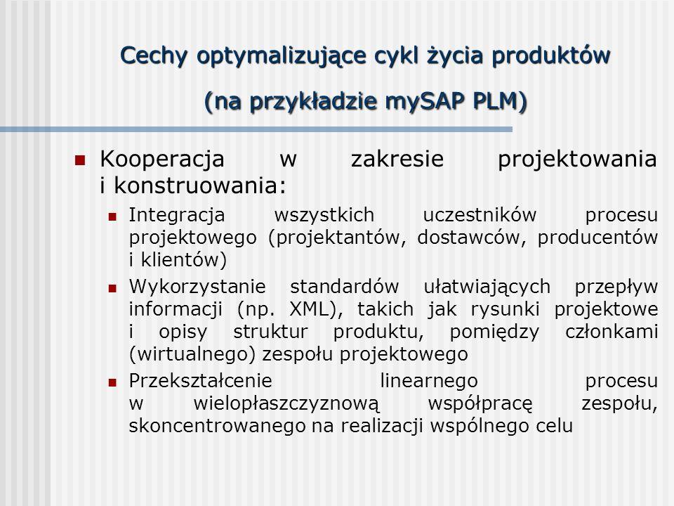 Cechy optymalizujące cykl życia produktów (na przykładzie mySAP PLM)