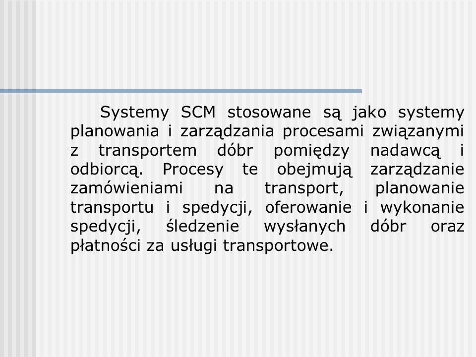 Systemy SCM stosowane są jako systemy planowania i zarządzania procesami związanymi z transportem dóbr pomiędzy nadawcą i odbiorcą.