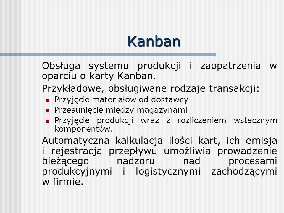 Kanban Obsługa systemu produkcji i zaopatrzenia w oparciu o karty Kanban. Przykładowe, obsługiwane rodzaje transakcji: