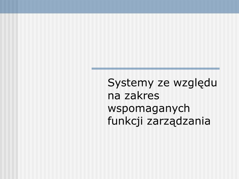 Systemy ze względu na zakres wspomaganych funkcji zarządzania