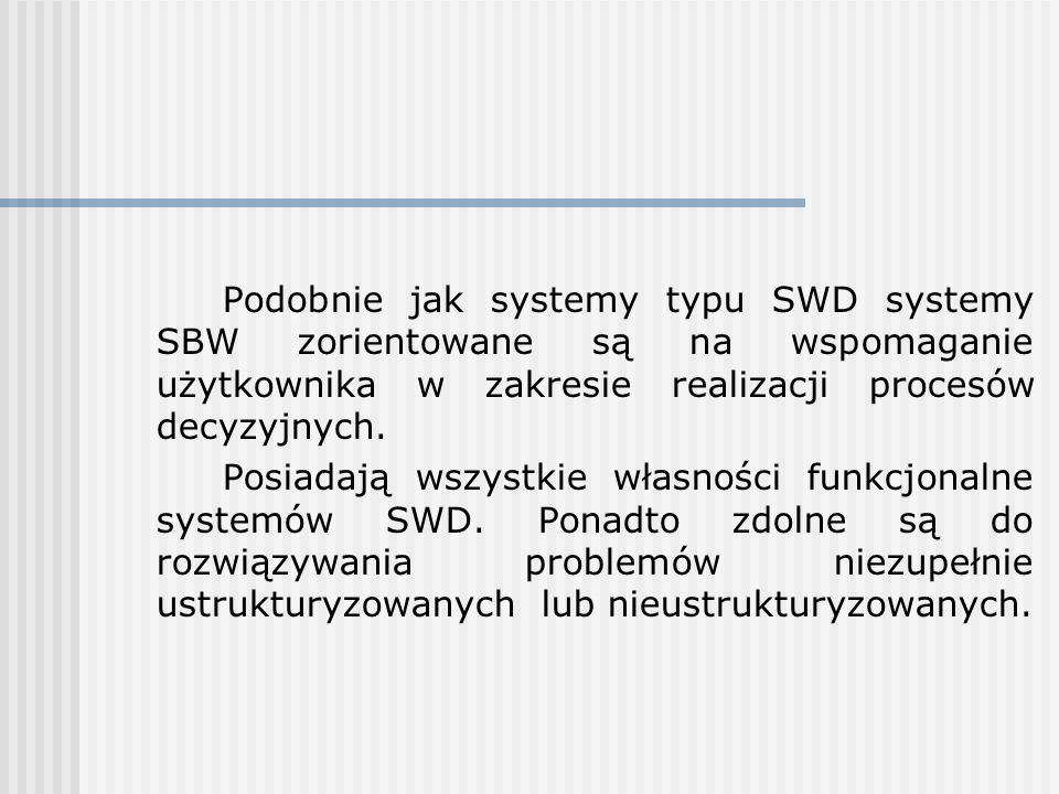 Podobnie jak systemy typu SWD systemy SBW zorientowane są na wspomaganie użytkownika w zakresie realizacji procesów decyzyjnych.