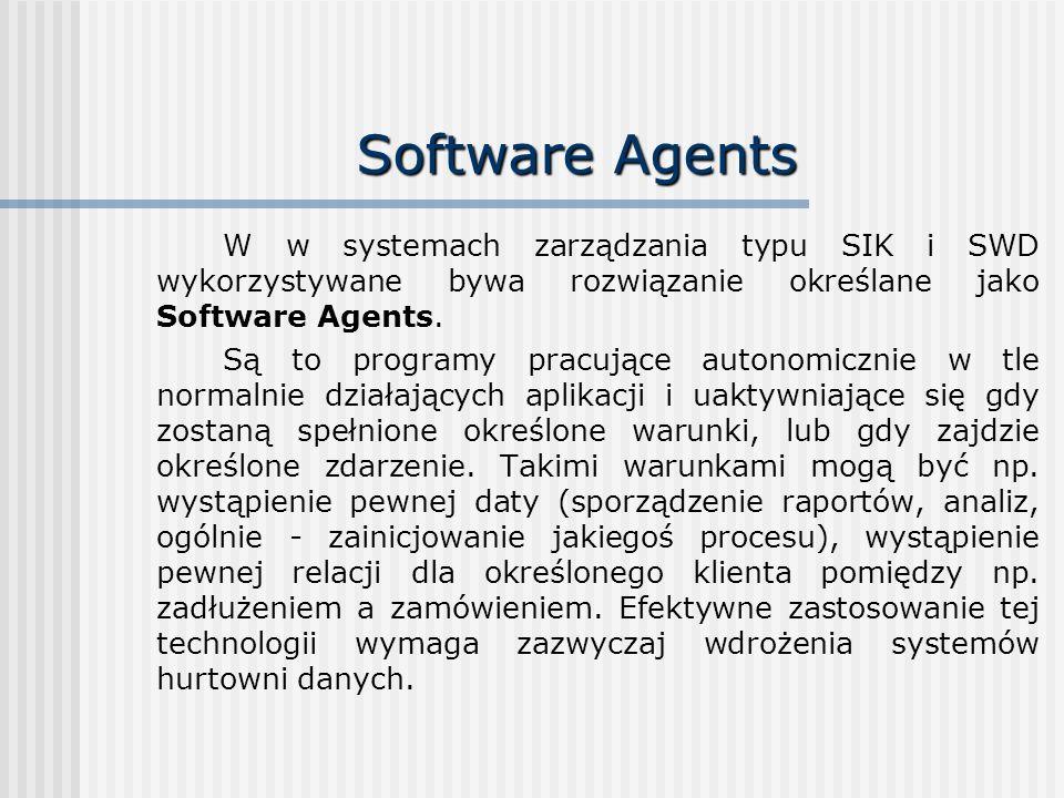 Software Agents W w systemach zarządzania typu SIK i SWD wykorzystywane bywa rozwiązanie określane jako Software Agents.