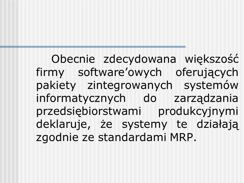 Obecnie zdecydowana większość firmy software'owych oferujących pakiety zintegrowanych systemów informatycznych do zarządzania przedsiębiorstwami produkcyjnymi deklaruje, że systemy te działają zgodnie ze standardami MRP.