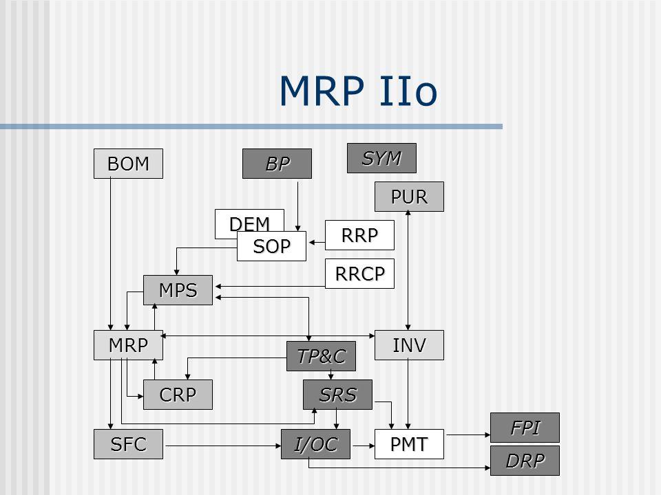 MRP IIo SYM BOM BP PUR DEM RRP SOP RRCP MPS MRP INV TP&C CRP SRS FPI