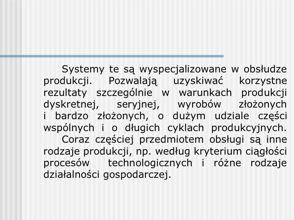 Systemy te są wyspecjalizowane w obsłudze produkcji