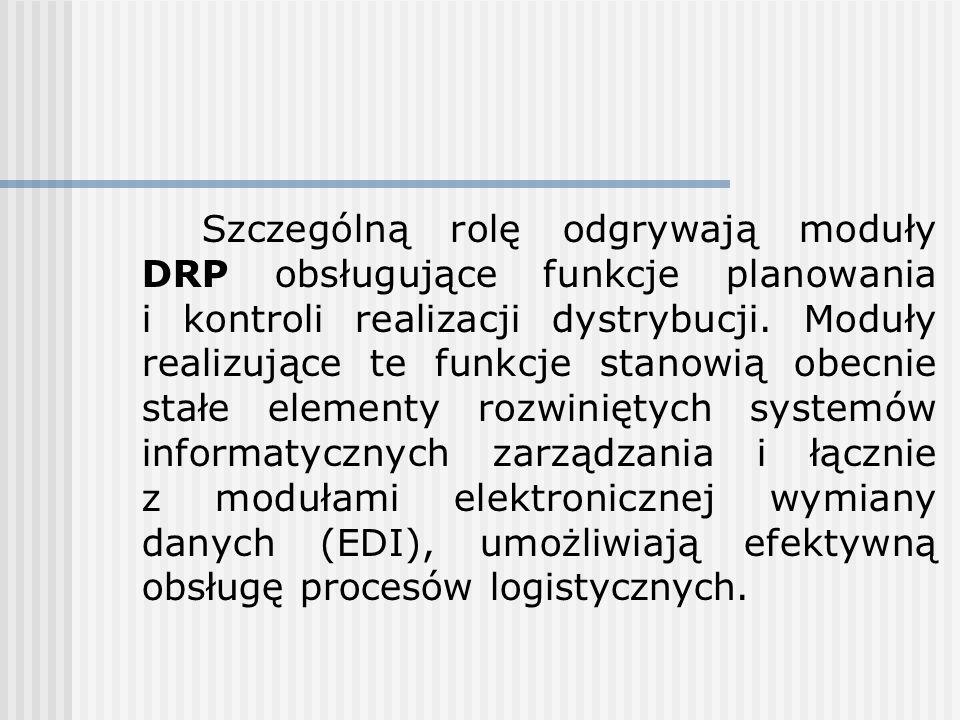 Szczególną rolę odgrywają moduły DRP obsługujące funkcje planowania i kontroli realizacji dystrybucji.