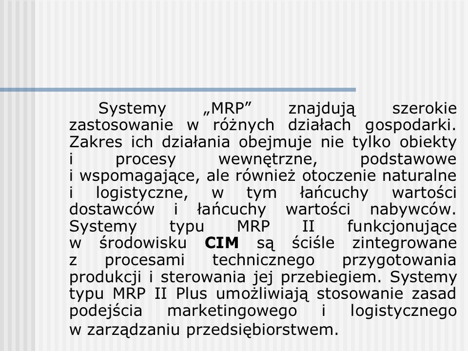 """Systemy """"MRP znajdują szerokie zastosowanie w różnych działach gospodarki."""