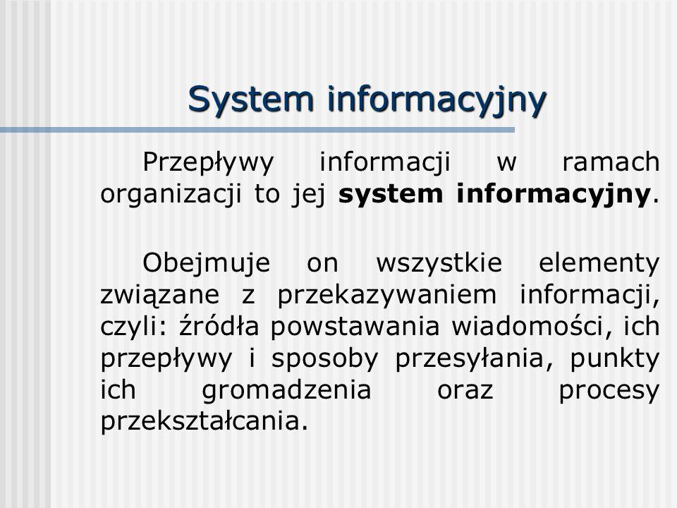 System informacyjny Przepływy informacji w ramach organizacji to jej system informacyjny.
