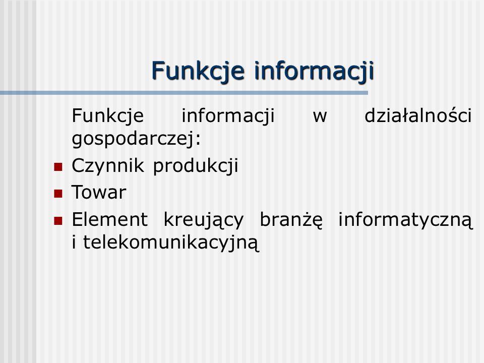 Funkcje informacji Funkcje informacji w działalności gospodarczej: