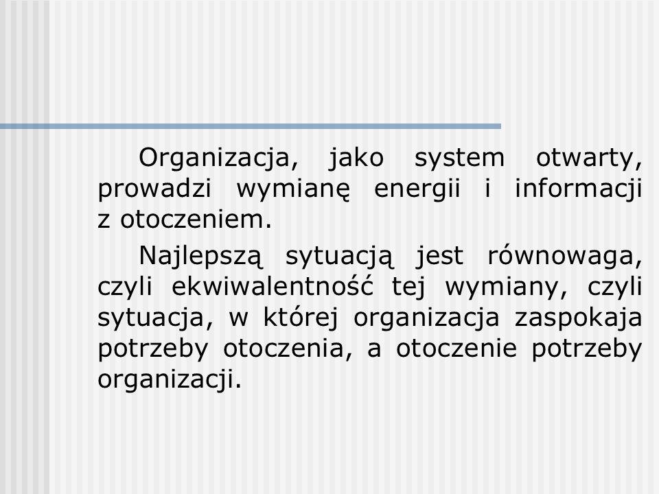 Organizacja, jako system otwarty, prowadzi wymianę energii i informacji z otoczeniem.