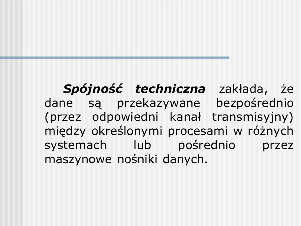Spójność techniczna zakłada, że dane są przekazywane bezpośrednio (przez odpowiedni kanał transmisyjny) między określonymi procesami w różnych systemach lub pośrednio przez maszynowe nośniki danych.