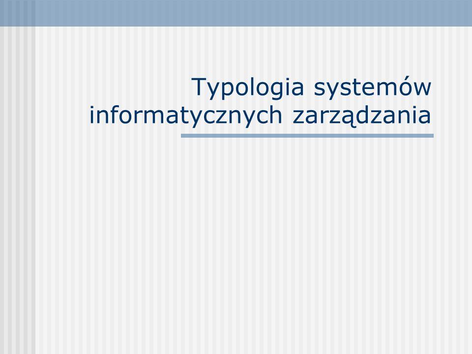 Typologia systemów informatycznych zarządzania