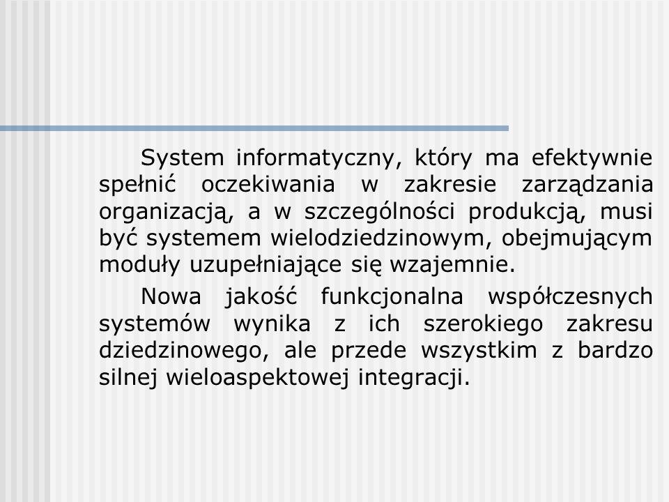 System informatyczny, który ma efektywnie spełnić oczekiwania w zakresie zarządzania organizacją, a w szczególności produkcją, musi być systemem wielodziedzinowym, obejmującym moduły uzupełniające się wzajemnie.