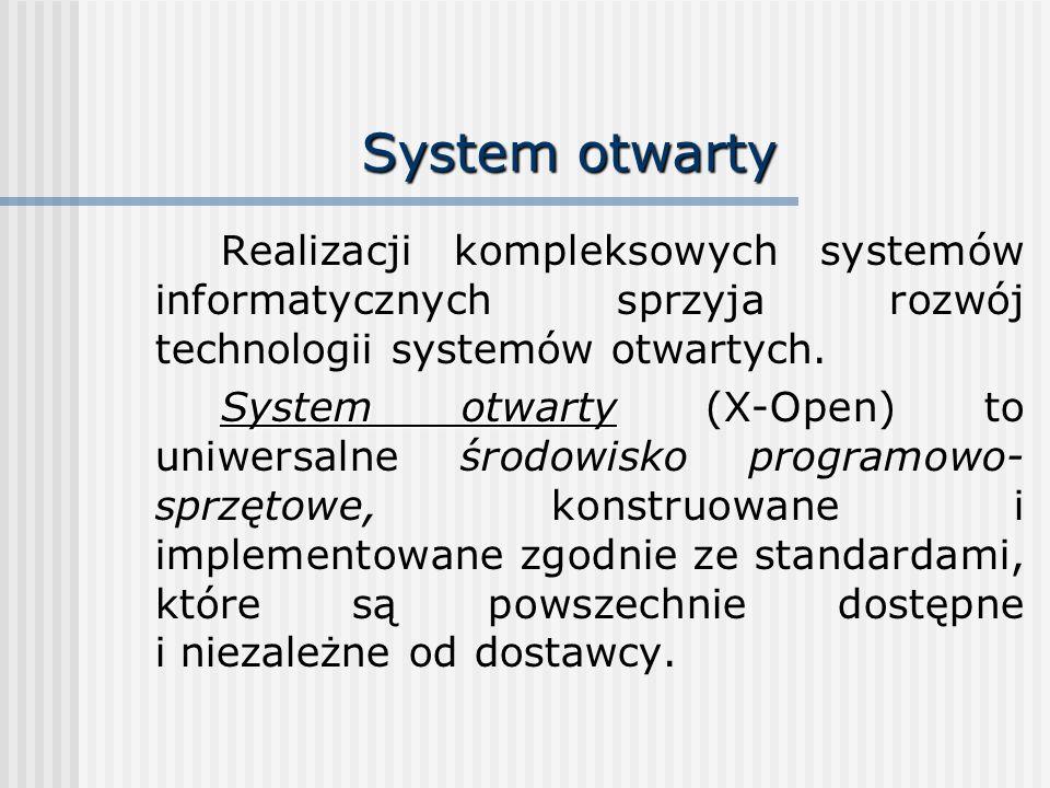 System otwarty Realizacji kompleksowych systemów informatycznych sprzyja rozwój technologii systemów otwartych.