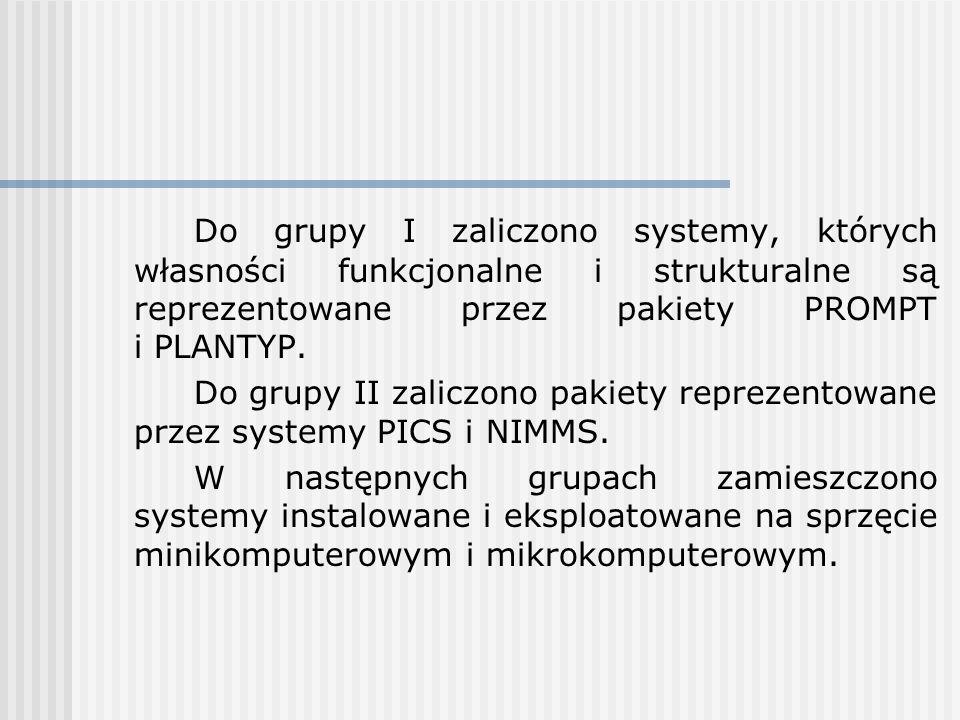 Do grupy I zaliczono systemy, których własności funkcjonalne i strukturalne są reprezentowane przez pakiety PROMPT i PLANTYP.