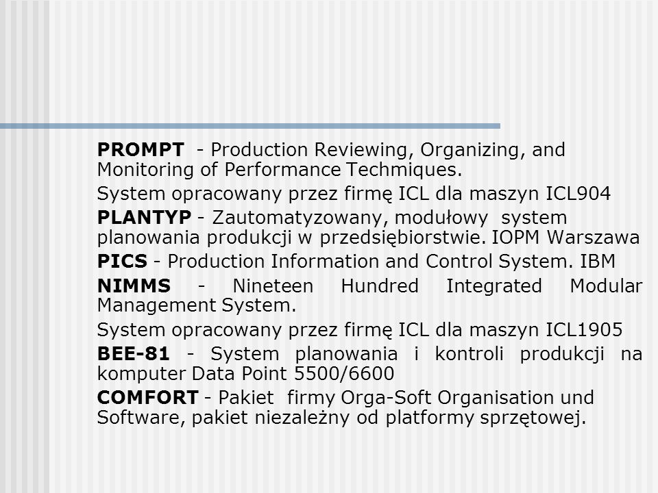 PROMPT - Production Reviewing, Organizing, and Monitoring of Performance Techmiques.