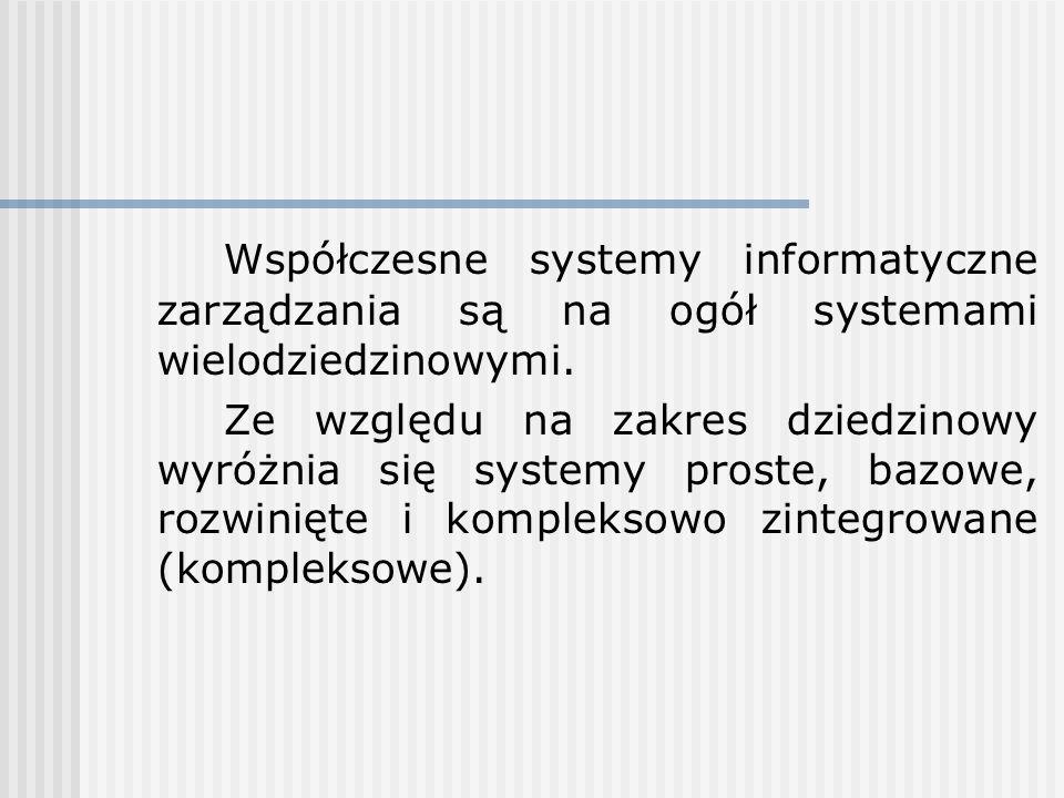 Współczesne systemy informatyczne zarządzania są na ogół systemami wielodziedzinowymi.