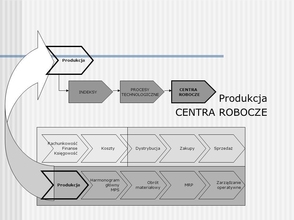 Produkcja CENTRA ROBOCZE Produkcja PROCESY TECHNOLOGICZNE CENTRA
