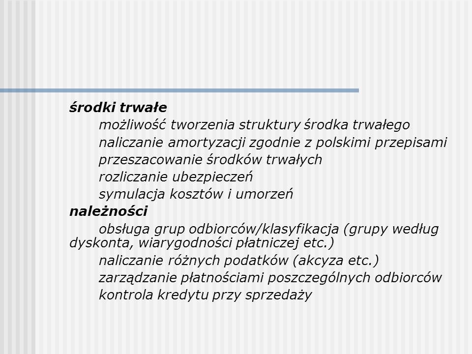 środki trwałe możliwość tworzenia struktury środka trwałego. naliczanie amortyzacji zgodnie z polskimi przepisami.