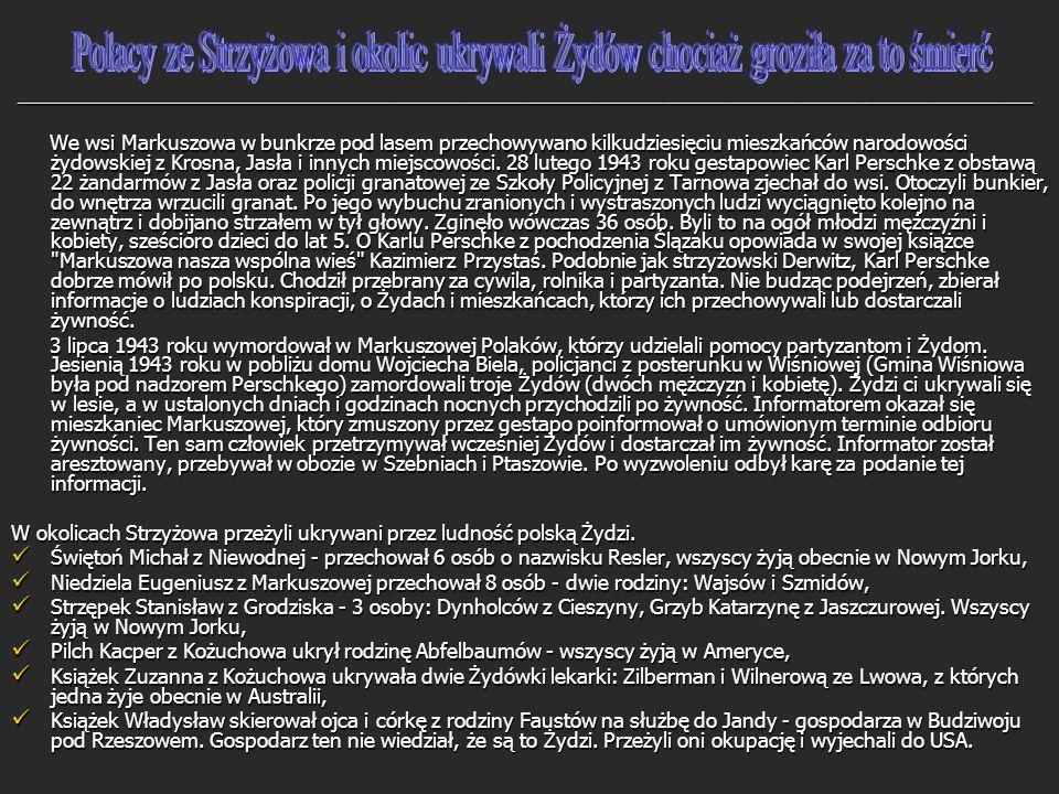 Polacy ze Strzyżowa i okolic ukrywali Żydów chociaż groziła za to śmierć