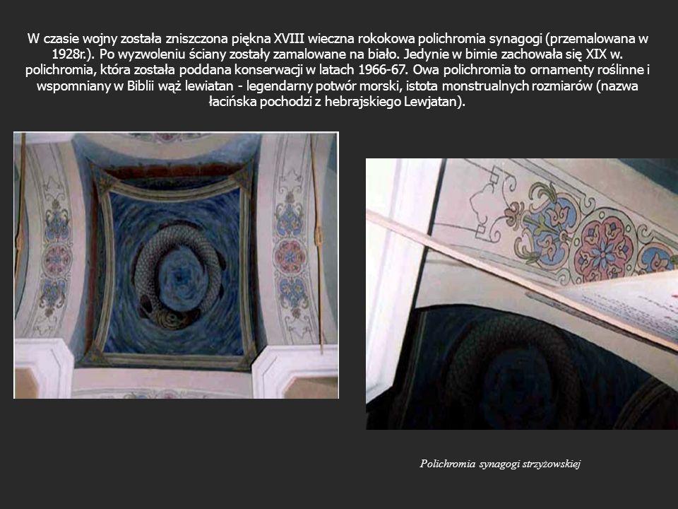 W czasie wojny została zniszczona piękna XVIII wieczna rokokowa polichromia synagogi (przemalowana w 1928r.). Po wyzwoleniu ściany zostały zamalowane na biało. Jedynie w bimie zachowała się XIX w. polichromia, która została poddana konserwacji w latach 1966-67. Owa polichromia to ornamenty roślinne i wspomniany w Biblii wąż lewiatan - legendarny potwór morski, istota monstrualnych rozmiarów (nazwa łacińska pochodzi z hebrajskiego Lewjatan).