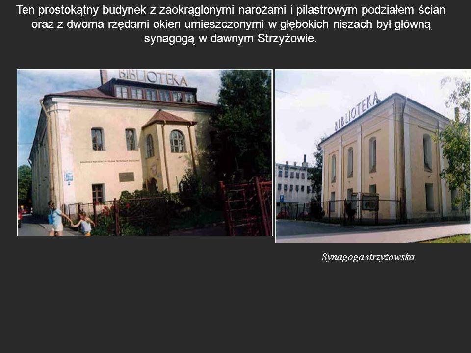 Ten prostokątny budynek z zaokrąglonymi narożami i pilastrowym podziałem ścian oraz z dwoma rzędami okien umieszczonymi w głębokich niszach był główną synagogą w dawnym Strzyżowie.