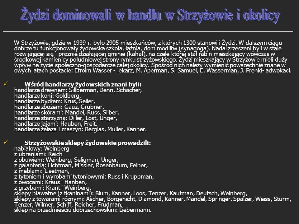 Żydzi dominowali w handlu w Strzyżowie i okolicy