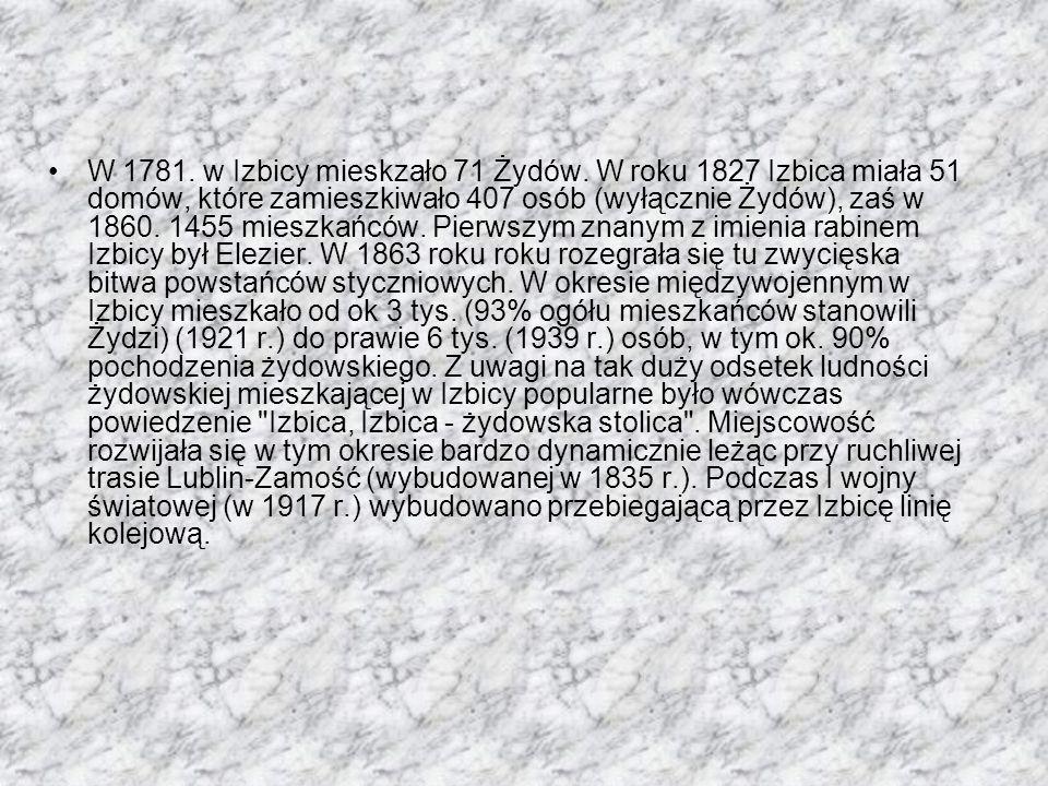 W 1781. w Izbicy mieskzało 71 Żydów