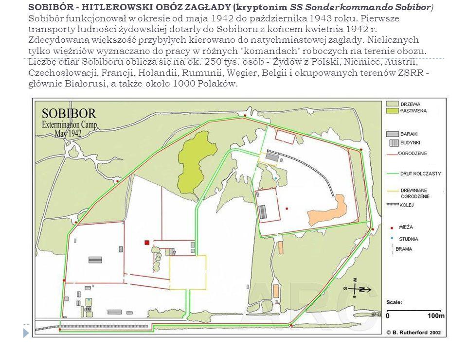 SOBIBÓR - HITLEROWSKI OBÓZ ZAGŁADY (kryptonim SS Sonderkommando Sobibor) Sobibór funkcjonował w okresie od maja 1942 do października 1943 roku.