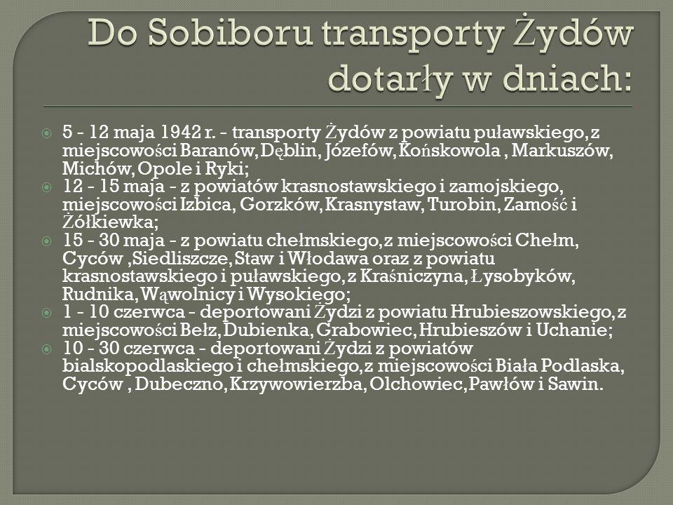 Do Sobiboru transporty Żydów dotarły w dniach: