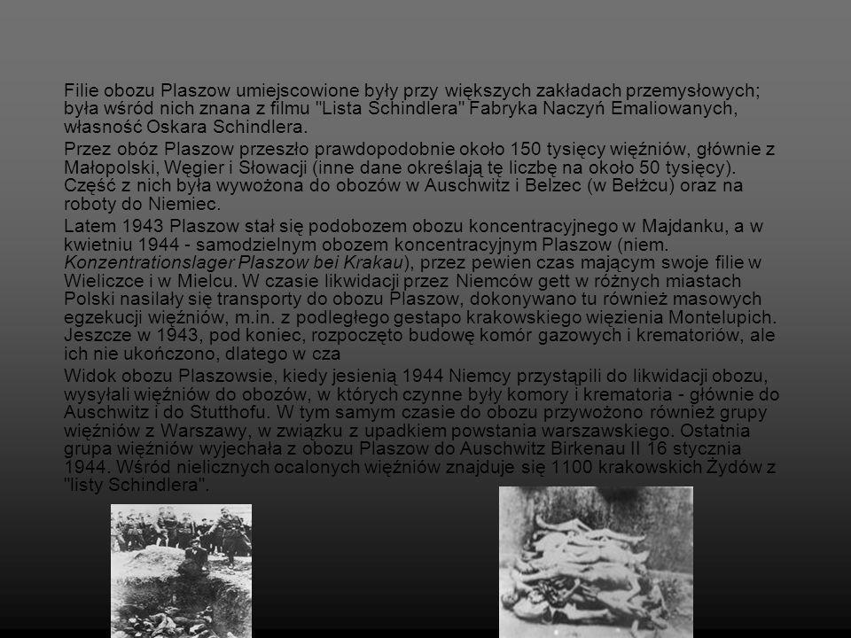 Filie obozu Plaszow umiejscowione były przy większych zakładach przemysłowych; była wśród nich znana z filmu Lista Schindlera Fabryka Naczyń Emaliowanych, własność Oskara Schindlera.